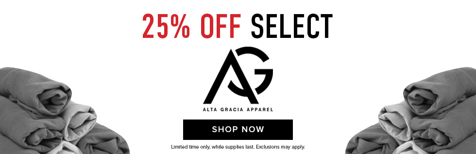 Picture of rolled shirts. 25% off select Alta Gracia apparel. Limited time only. Exclusions may apply. While supplies last. Click to shop now.