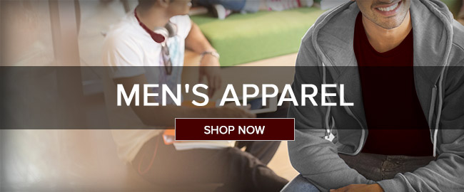Picture of two men sitting. Men's Apparel. Click to shop now.