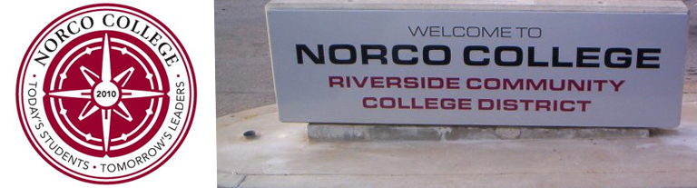 College logo and Welcome sign